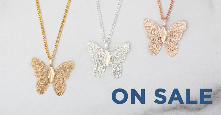 Lustrous Leaf Butterfly Necklace | On Sale!