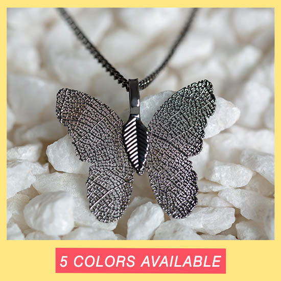 Lustrous Leaf Butterfly Necklace - 5 Colors Available