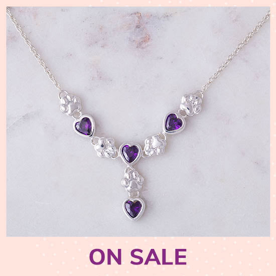 Amethyst Hearts & Paws Sterling Drop Necklace - On Sale