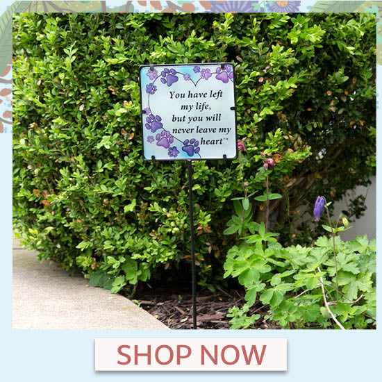 Never Leave My Heart Purple Paw Garden Stake