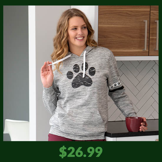 Paws & Stripes Heathered Pullover Hoodie - $26.99
