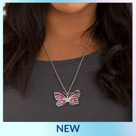 Flying Free Rainbow Butterfly Necklace - New