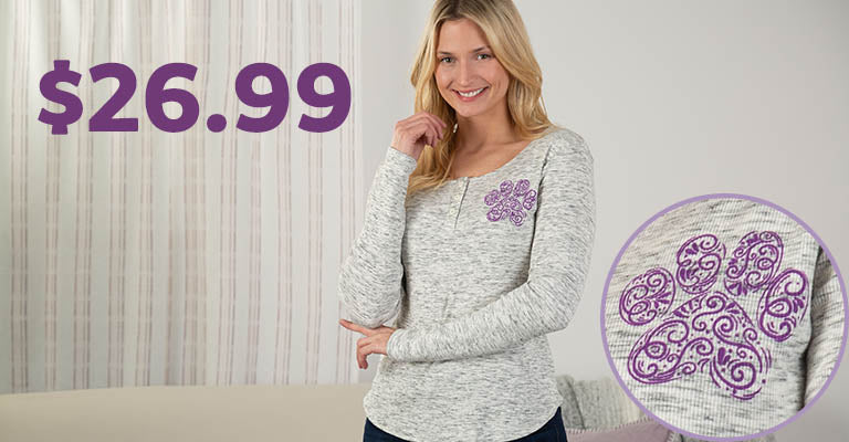 Purple Paw Ribbed Henley Top | $26.99