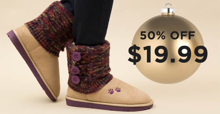 Purple Paw Multicolored Knit Mid Rise Boots | 50% OFF | $19.99