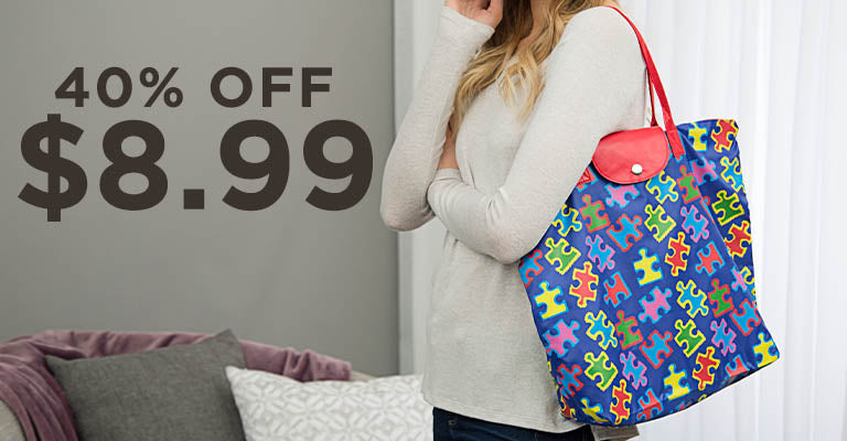 Free Spirit Puzzle Piece Packable Tote | 40% OFF | $8.99