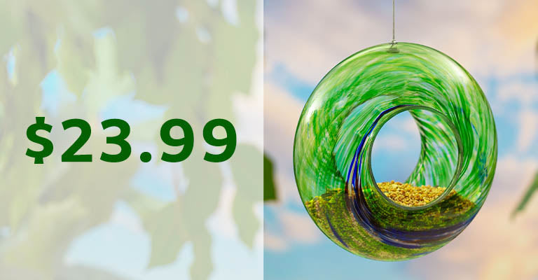 Ocean Swirl Glass Bird Feeder | $23.99