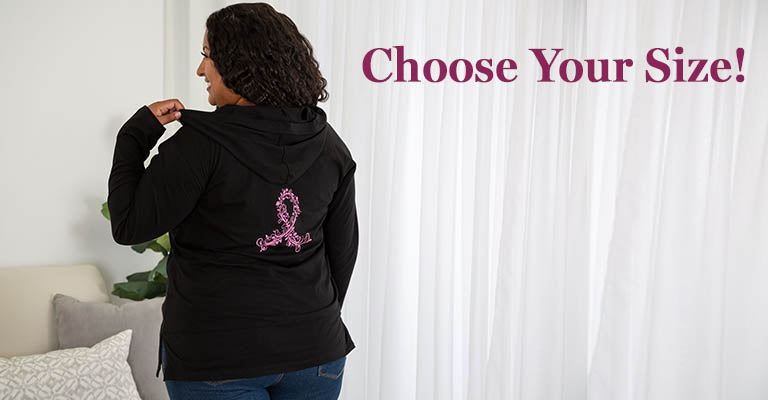 Pink Ribbon Swirl Lightweight Hooded Tunic | Choose Your Size!