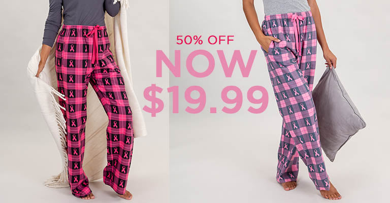 Pink Ribbon Flannel Lounge Pants | Over 50% OFF | $12.99
