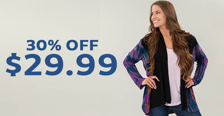 Perfectly Balanced Tie-Dye Open Cardigan | $29.99 | 30% OFF