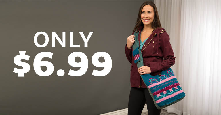 Hand-Embroidered Art Fair Knit Bag | Only $6.99