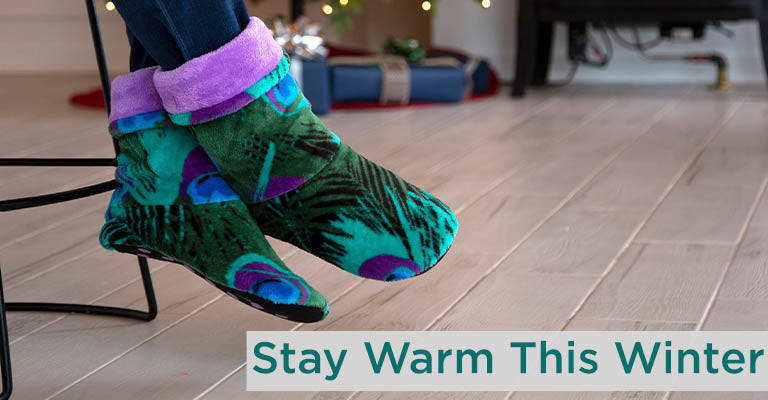 Super Cozy Peacock Fleece Slipper Booties | Stay Warm This Winter