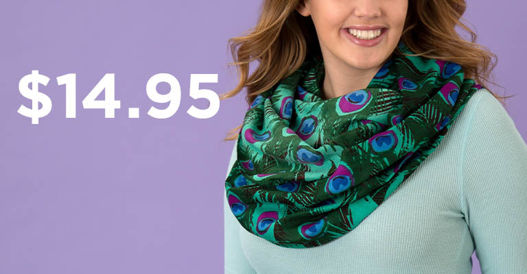 Peacock Feather Infinity Scarf | $14.95
