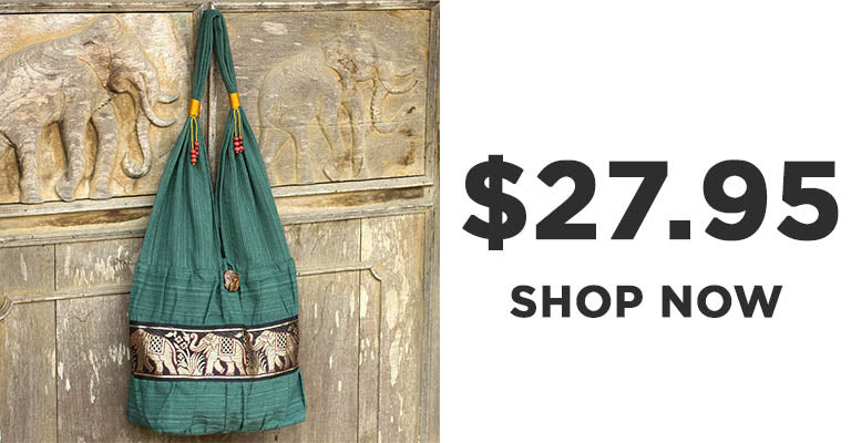 Emerald Thai Elephant Cotton Shoulder Bag | $27.95