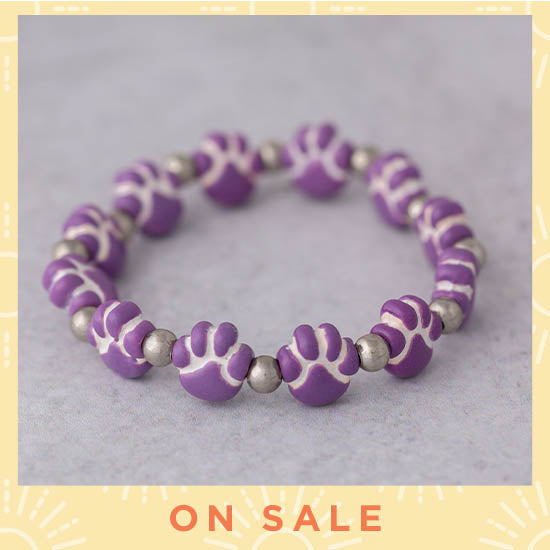 Ceramic Purple Paw Bracelet - On Sale