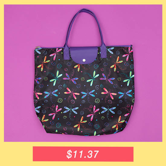 Just Believe Dragonfly Fold-up Tote Bag - $11.37