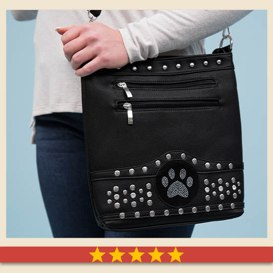 Midnight Bling Paw Purse - Five Stars