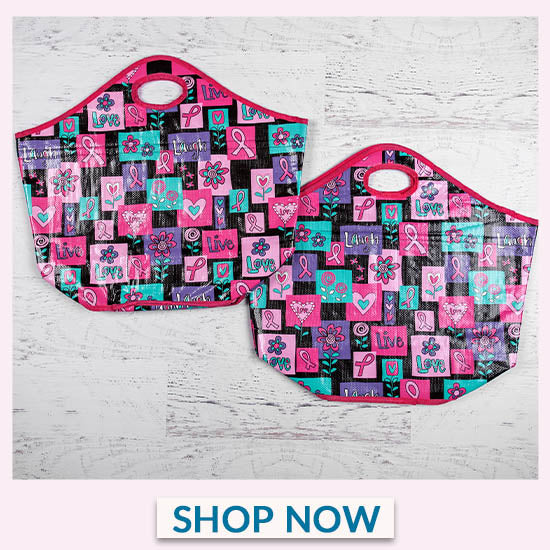 Pink Ribbon Insulated Shopping Totes Set - Shop Now