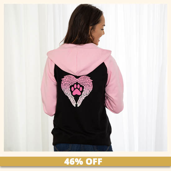 Paw Print Angel Wings Two Toned Zip Hoodie - 46% OFF