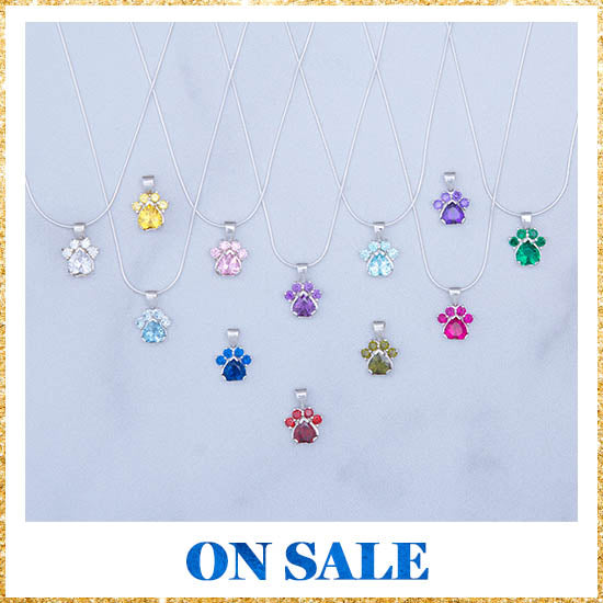 Paw Print Birthstone Sterling Necklace - On Sale