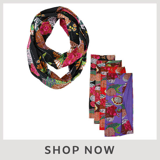 Hand Stitched Kantha Infinity Scarf - Shop Now