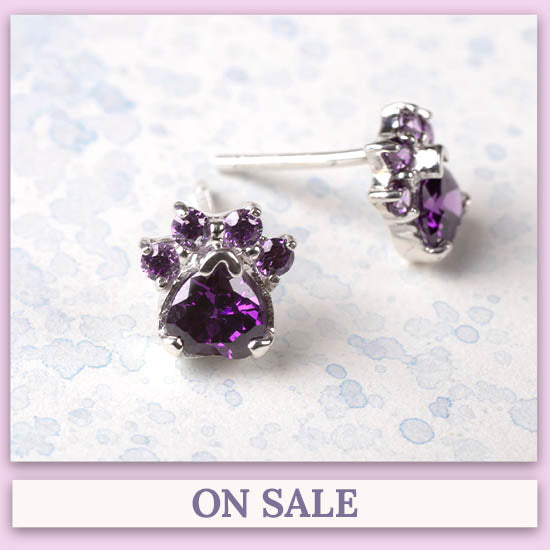 Paw Print Birthstone Earrings - On Sale