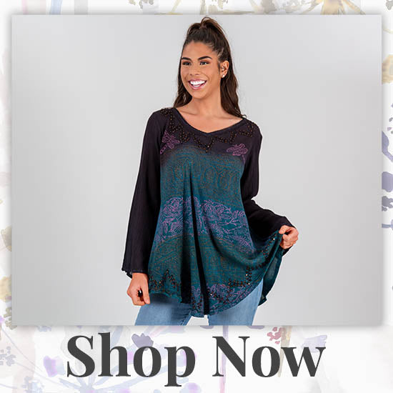 Dragonfly Meadow Long Sleeve Tunic - Shop Now
