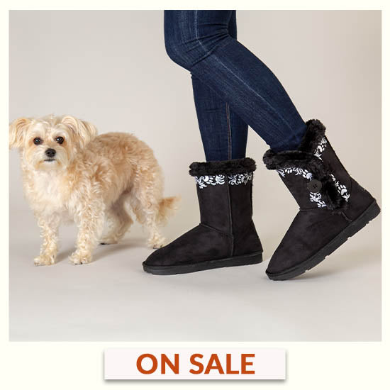 Swirling Vine Paw Print Boots - On Sale