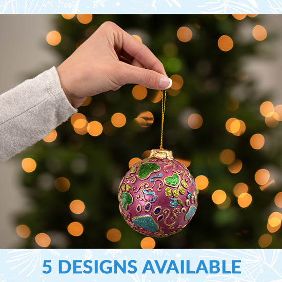 Jewel Tone Paw Print Ornament - 5 Designs Available