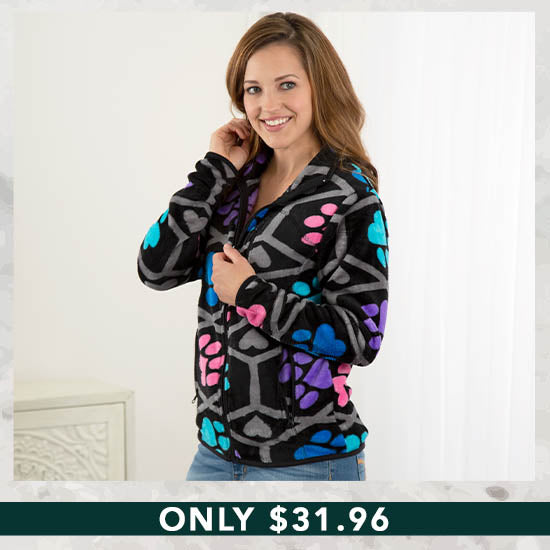Paws I Love You Fleece Jacket - Only $31.96