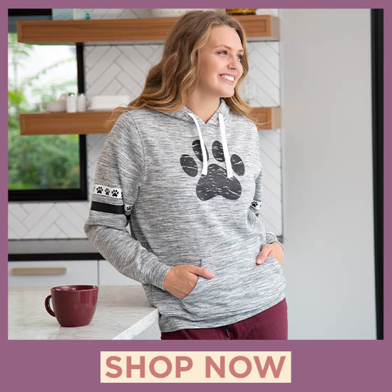 Paws & Stripes Heathered Pullover Hoodie - Shop Now
