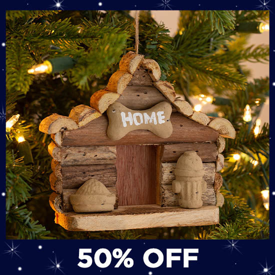 Handmade Recycled Driftwood Dog House Ornament - 50% OFF