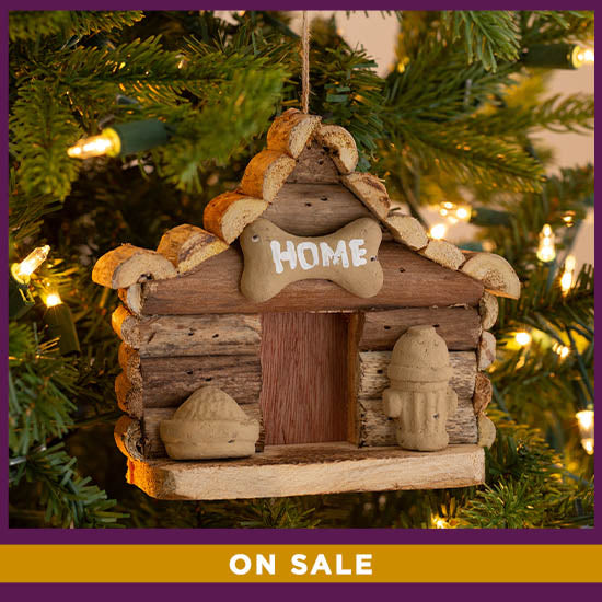 Handmade Recycled Driftwood Dog House Ornament - On Sale