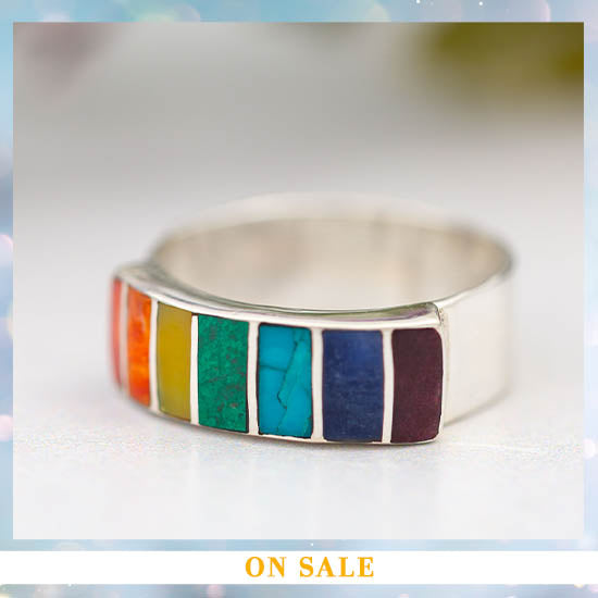 Sterling Gemstone Rainbow Ring - On Sale