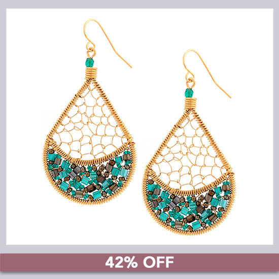 Threads & Beads Gold-Plated Earrings - 42% OFF