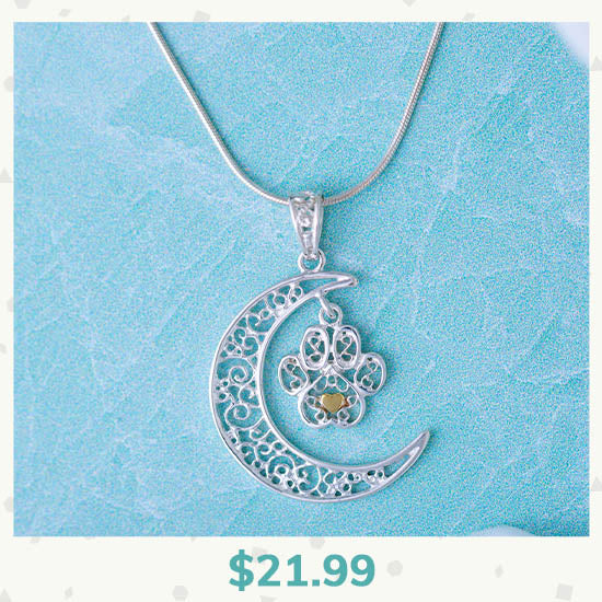 Filigree Moonlight Paw Sterling Necklace - $21.99