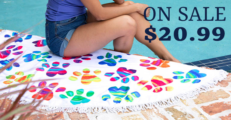 Painted Paws Round Beach Towel | On Sale! | $20.99