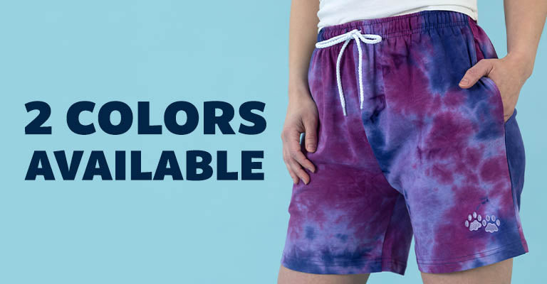 Purple Paw Tie-Dye Casual Shorts   2 Colors Available