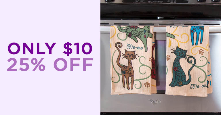 Festival Cats & Dogs Kitchen Towels | Only $10 | 25% OFF