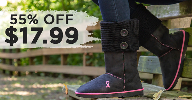 Path To Pink™ Ribbon Sweater Boots | $17.99 | 55% OFF