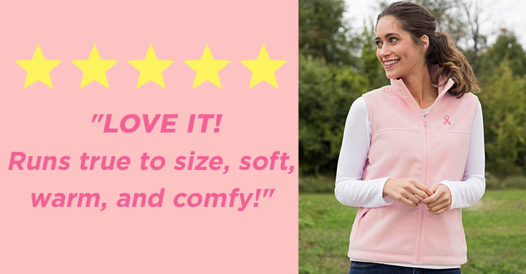 Pink Ribbon Women's Fleece Vest | Five Stars