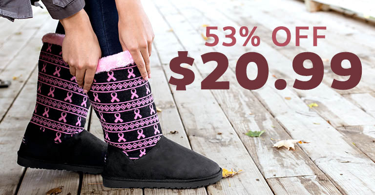 Pink Ribbon Knit Boots | $20.99 | 53% OFF
