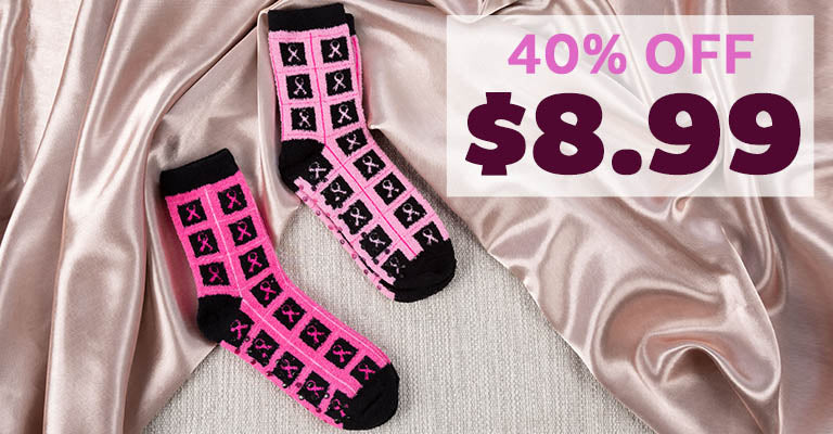 Super Cozy™ Pink Ribbon Slipper Socks - Set of 2 | $8.99 | 40% OFF