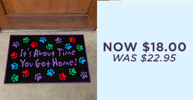 It's About Time Paw Print Door Mat | Was $22.95 | Now $18.00
