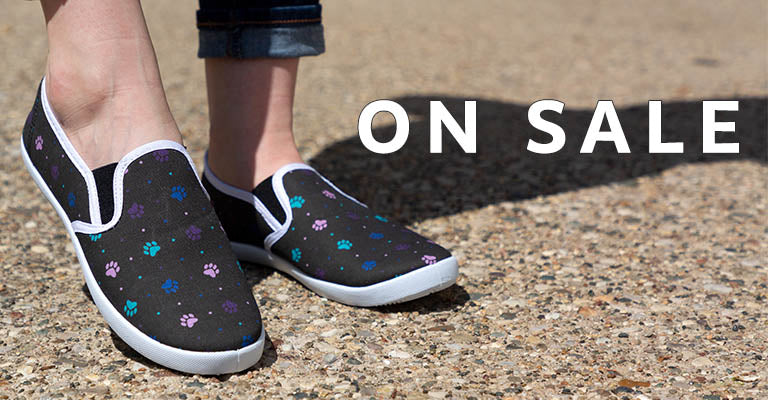 Paw Print Canvas Slip-On Shoes | On Sale