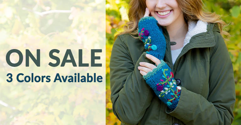 Flower Embroidery Fingerless Mittens | On Sale! 3 Colors Available