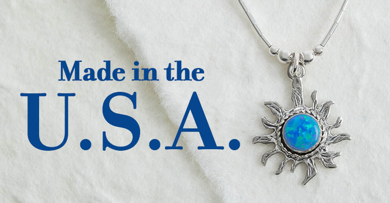 Sterling & Blue Opal Sun Necklace | Made in the U.S.A.
