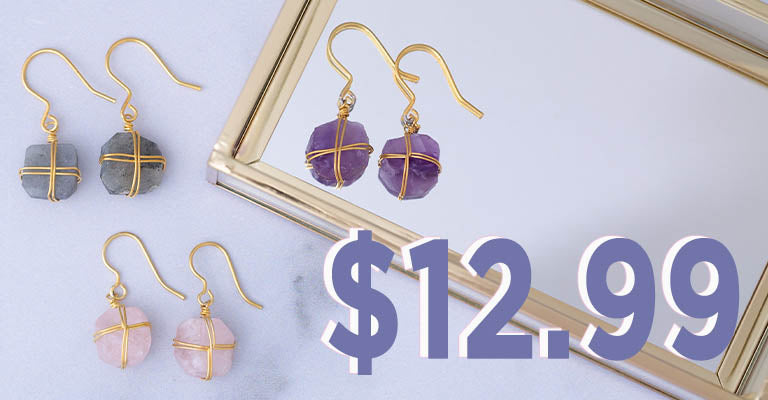 Wrapped Stone Gold-Plated Earrings   $12.99