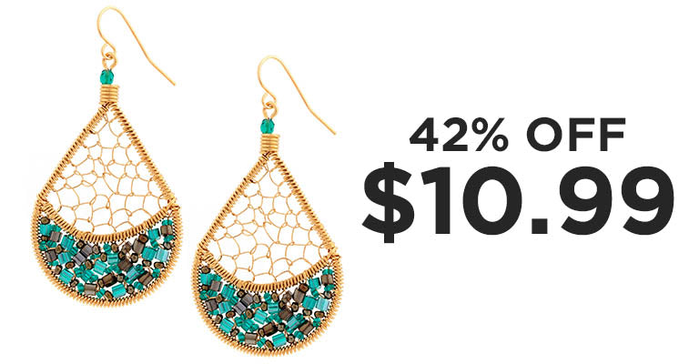 Threads & Beads Gold-Plated Earrings | 42% OFF | $10.99
