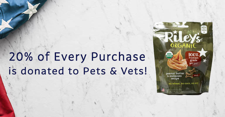 Riley's Organic Pets for Vets Dog Treats | 20% of every purchase is donated to Pets & Vets!