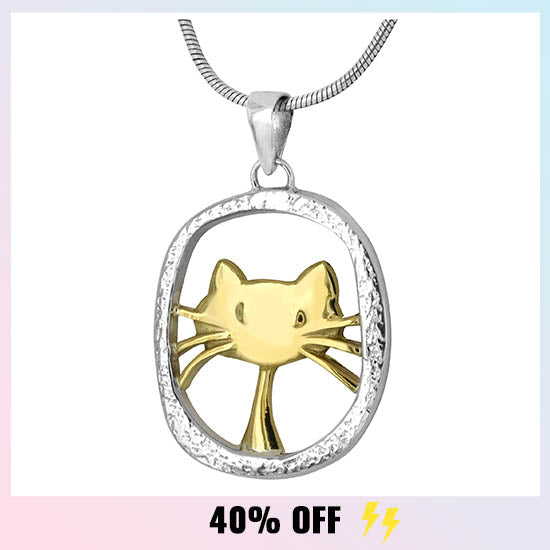 Cute Cat Sterling Necklace - 40% OFF